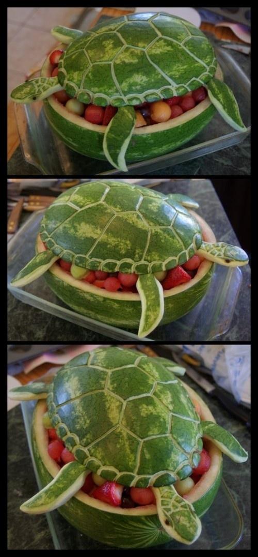 Как сделать поделку черепаху из арбуза