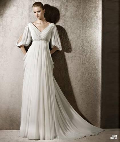 Красивое свадебное платье в греческом